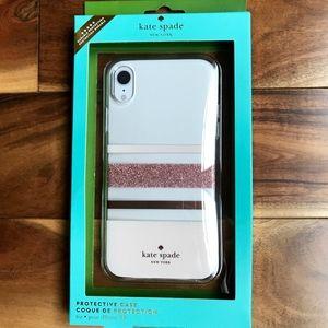 Kate Spade iPhone Case XR Pink Striped Glitter NIB